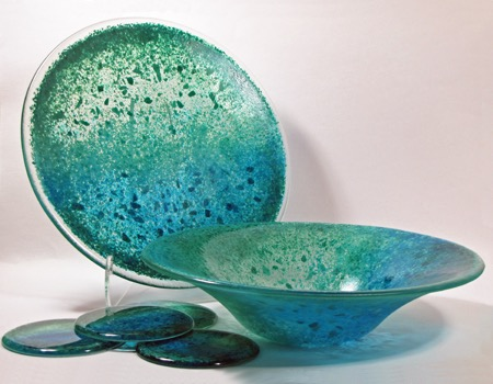 "12"" aqua fluted bowl, 11"" plate, coasters"