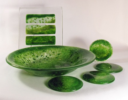 "13"" green medium bowl, coasters, 8"" tri-square"