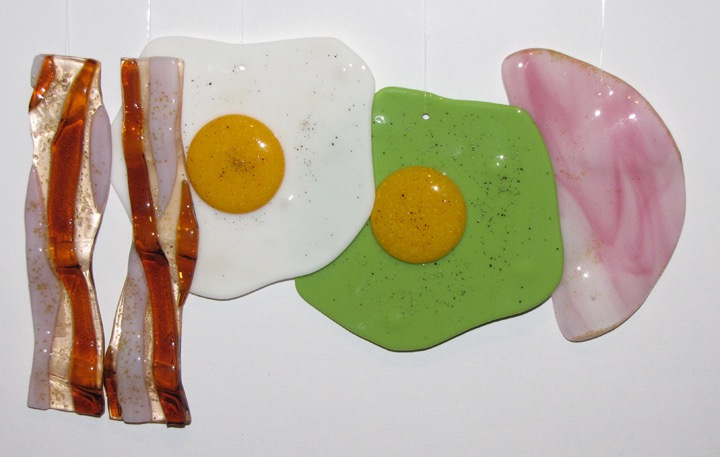 hanging bacon eggs and ham white page
