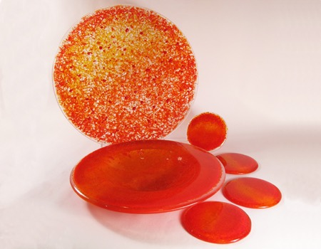 14' orange textured statement, rim bowl, coasters