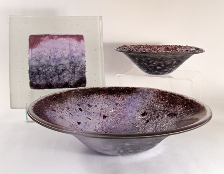 "12"" purple fluted bowl, frosted 8"" square, textured 7"" salad bowl"