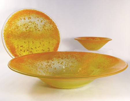 "15"" yellow large fluted bowl, 11"" plate, and 7"" salad bowl"